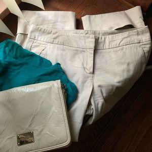 NY&Co Light Tan Cuffed Capri Pants